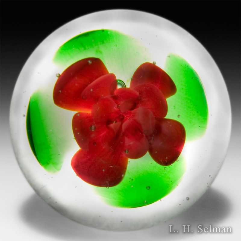 Ronald Hansen scarlet crimp rose miniature glass paperweight. by Ronald Hansen