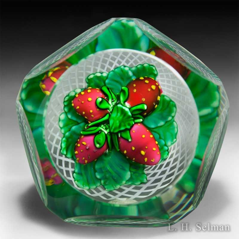 Saint Louis 1982 faceted strawberries glass paperweight. by  Saint Louis