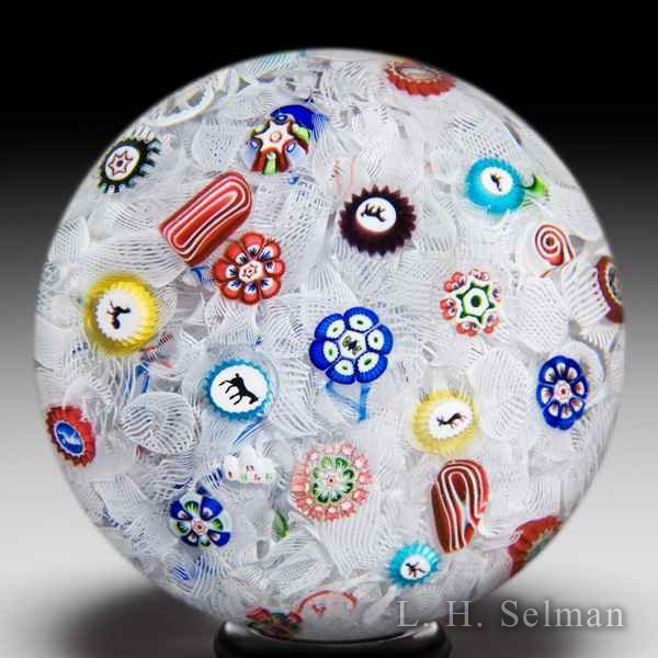 Rare magnum antique Baccarat 'B 1848' scattered millefiori and Gridel canes glass paperweight. by  Baccarat Antique