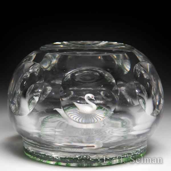 Antique Baccarat swan in pond facetted glass paperweight. by  Baccarat Antique