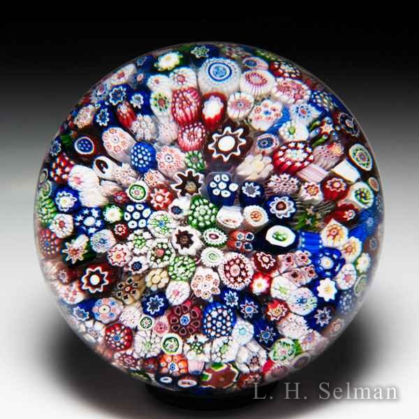 Antique Baccarat close packed millefiori with 'A' cane glass paperweight. by  Baccarat Antique