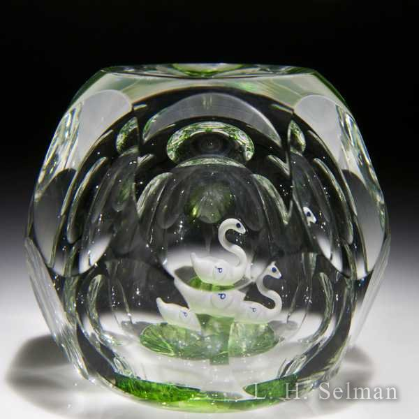 Perthshire Paperweights 1973 faceted white swan glass paperweight. by  Perthshire Paperweights