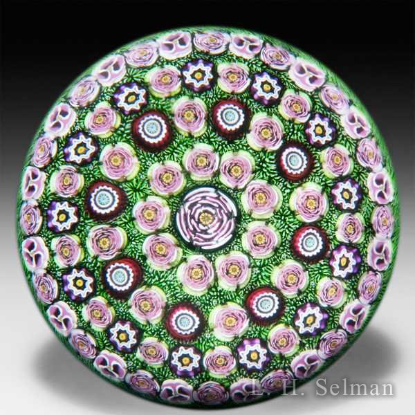 Parabelle Glass 1996 magnum spaced concentric millefiori paperweight. by Parabelle Glass