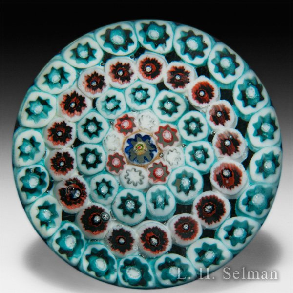 Salvador Ysart concentric millefiori greens and ochres paperweight. by Paul Ysart