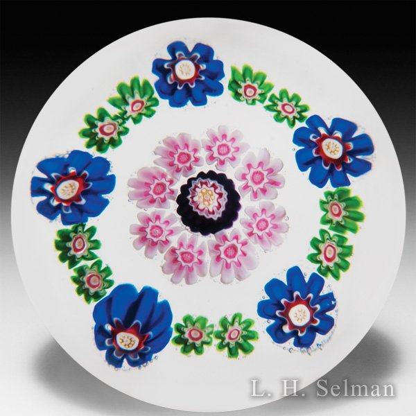 Antique Clichy spaced concentric millefiori petite glass paperweight. by  Clichy
