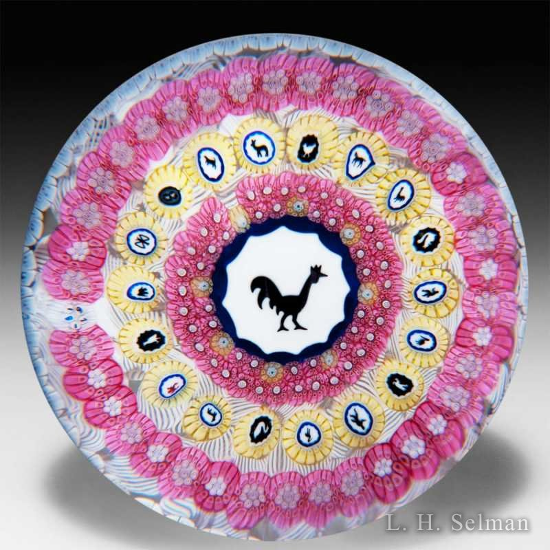 Baccarat 1971 Gridel rooster and concentric millefiori glass paperweight. by Baccarat Moderns