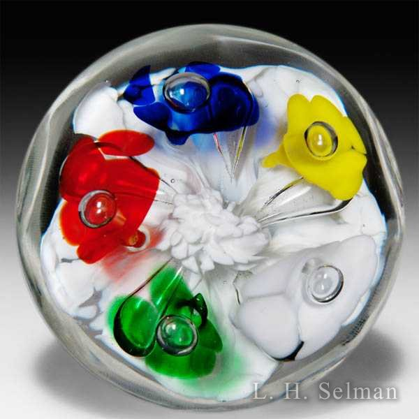 Joe St Clair multiple colors flower bouquet glass paperweight. by  St Clair