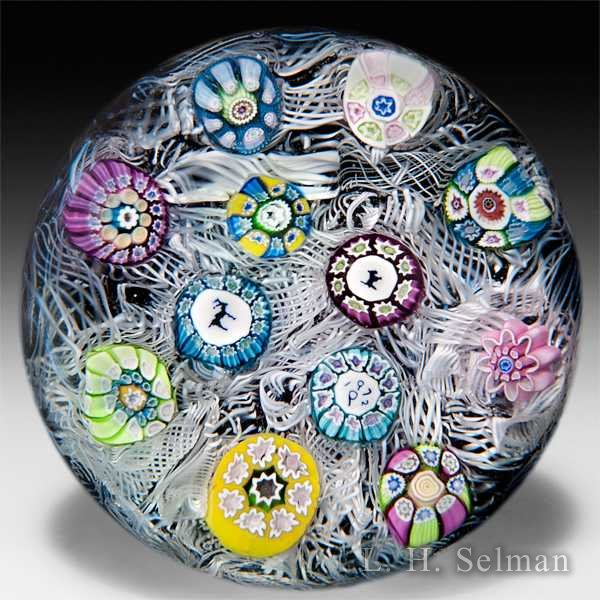 Perthshire Paperweights 1972 spaced millefiori on upset muslin glass paperweight. by  Perthshire Paperweights