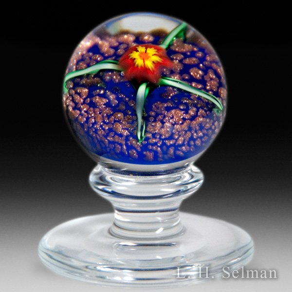 Charles Kaziun Junior miniature red lily pedestal glass paperweight. by Charles Kaziun Junior