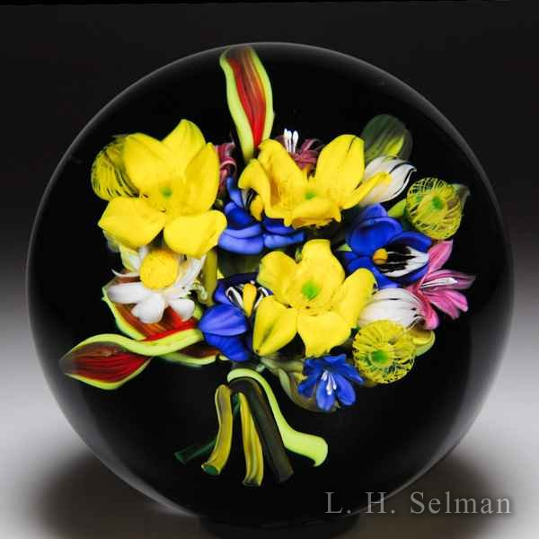 Melissa Ayotte 2012 'Wild Posy' bouquet on black ground glass paperweight. by Melissa Ayotte