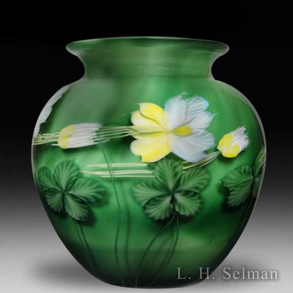 Lundberg Studios 1991 yellow columbine over jade ground vase, by Daniel Salazar. by  Lundberg Studios
