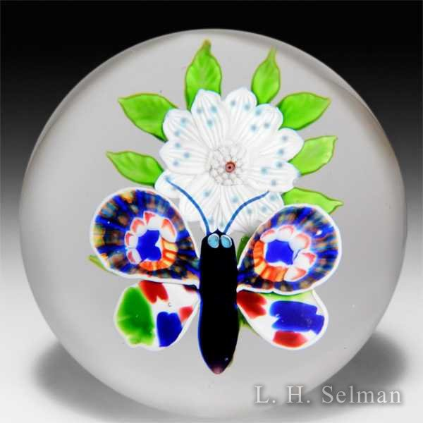 Rare and outstanding antique Baccarat millefiori butterfly and wheatflower glass paperweight. by  Baccarat Antique