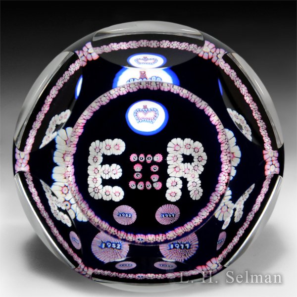 Whitefriars 1977 Queen Elizabeth II Jubilee faceted glass paperweight. by  Whitefriars