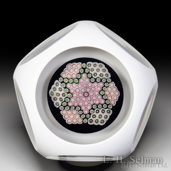 Saint Louis 1971 'Star of David' complex millefiori faceted overlay glass paperweight. by  Saint Louis