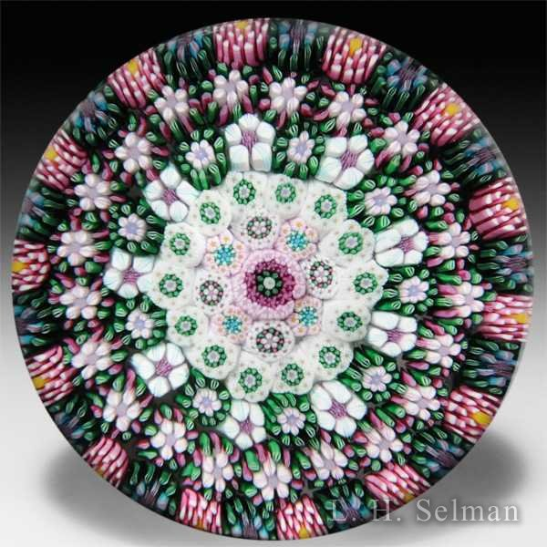 Drew Ebelhare 2013 concentric millefiori in heathers and white glass paperweight. by Drew Ebelhare & Sue Fox