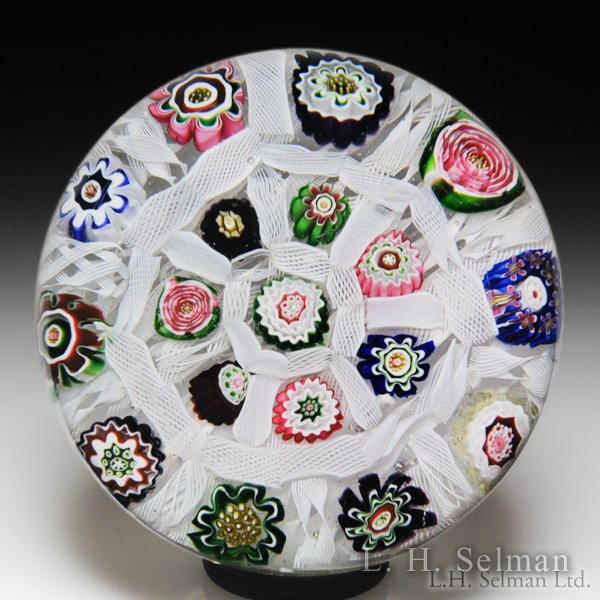 Excellent antique Clichy millefiori chequer with roses glass paperweight. by  Clichy