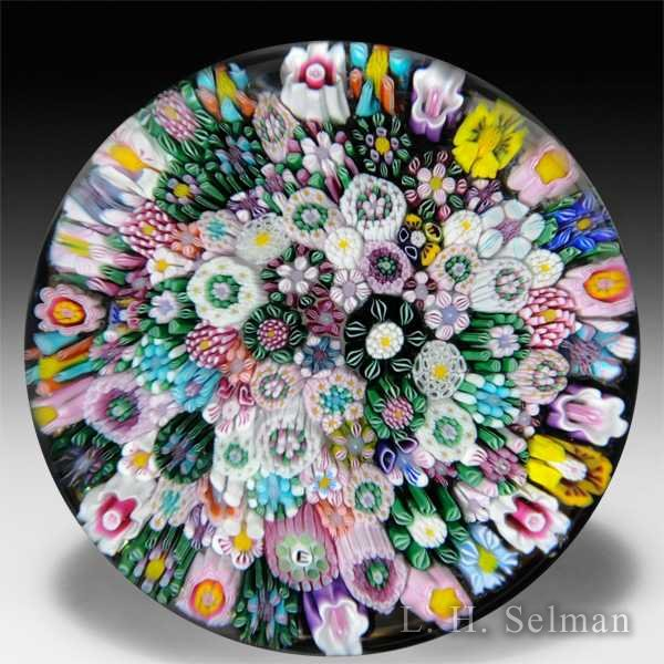 Drew Ebelhare 2013 close packed millefiori glass paperweight. by Drew Ebelhare & Sue Fox