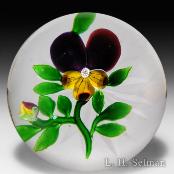 Antique Baccarat pansy and bud glass paperweight. by  Baccarat Antique