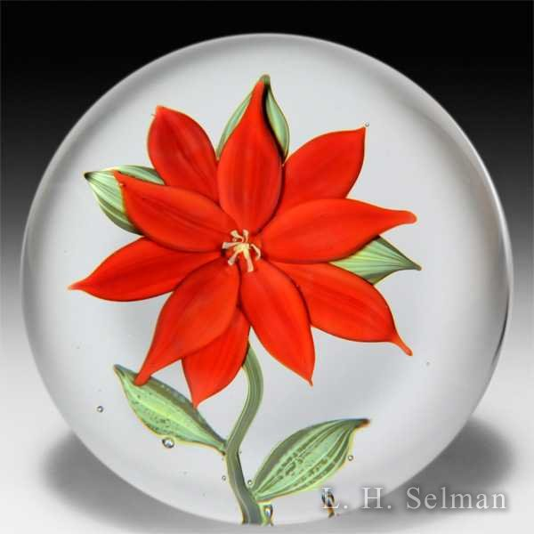 Paul Stankard 1972 experimental red poinsettia on clear ground glass paperweight. by Paul Stankard