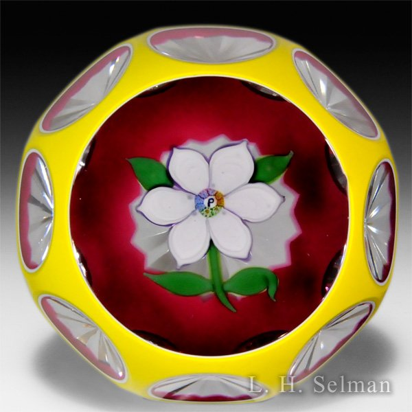 Perthshire Paperweights 1977 faceted yellow triple overlay anemone glass paperweight. by  Perthshire Paperweights