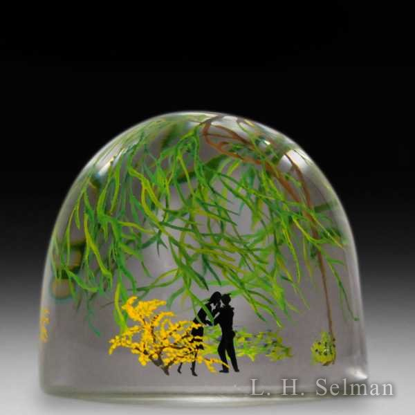 Alison Ruzsa 2014 'Whispering in the Windy Willow' silhouette compound glass paperweight. by Alison Ruzsa