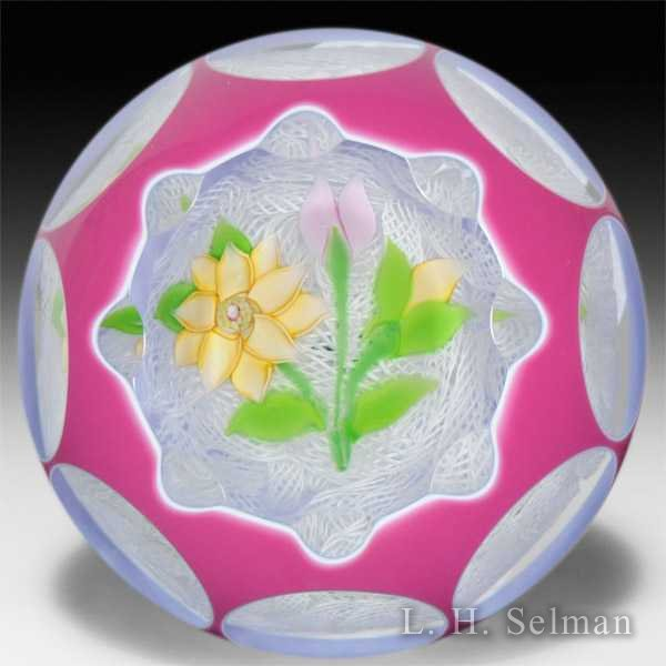 John Deacons 2013 clematis and buds in a pink and white double overlay petite glass paperweight. by John Deacons