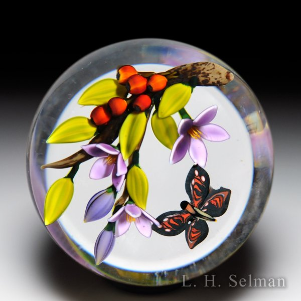 Colin Richardson 2014 'Tropical Visitor' butterfly and blooms glass paperweight. by Colin Richardson