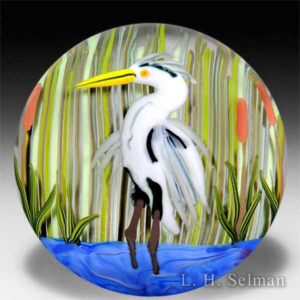 Yaffa and Jeff Todd 2009 'Great Blue Heron' glass paperweight. by Yaffa & Jeff Todd