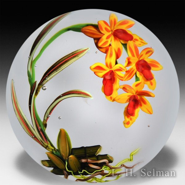 Colin Richardson 2014 yellow and orange oncidiums glass paperweight.  by Colin Richardson