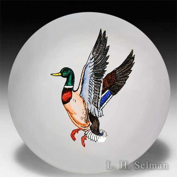 Unknown source duck decal glass paperweight. by  Misc Modern