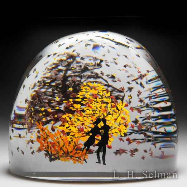Alison Ruzsa 2014 couple with swirling leaves compound glass paperweight. by Alison Ruzsa