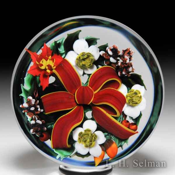 Rick Ayotte 1987 'Christmas Bouquet' glass paperweight. by Rick Ayotte