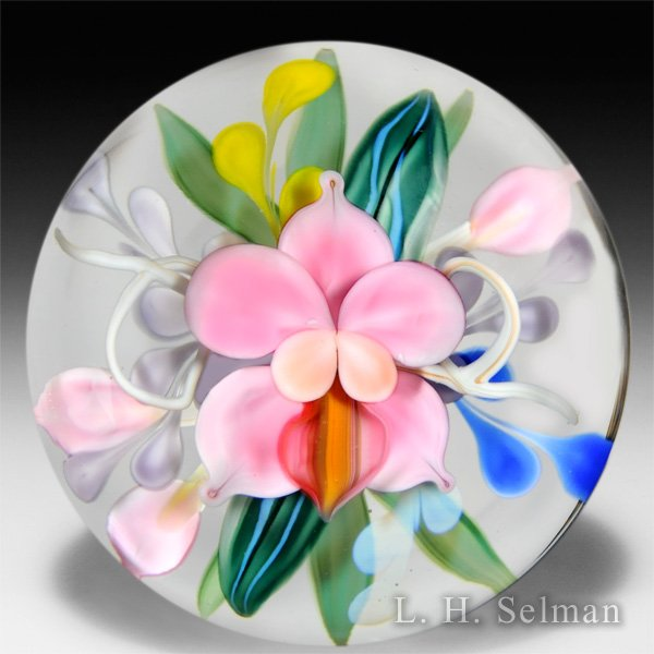 Justin Lundberg fantasy flower compound bouquet magnum glass paperweight.  by  Lundberg Studios