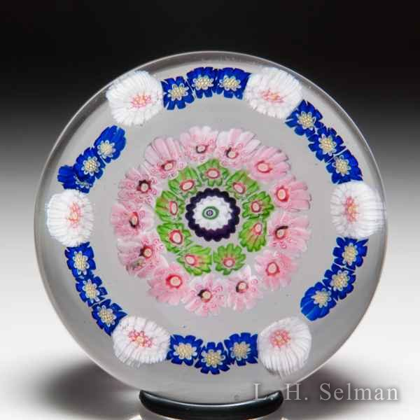 Antique Clichy spaced concentric miniature glass paperweight. by  Clichy
