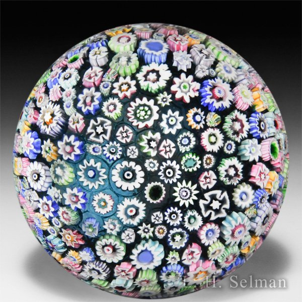 John Deacons 2014 close-packed millefiori super magnum glass paperweight. by John Deacons
