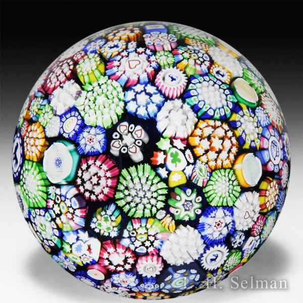 John Deacons 2014 close packed millefiori magnum glass paperweight. by John Deacons