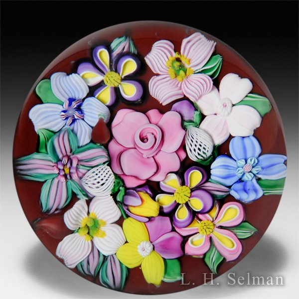 Drew Ebelhare & Sue Fox 2014 central pink rose bouquet glass paperweight.  by Drew Ebelhare & Sue Fox