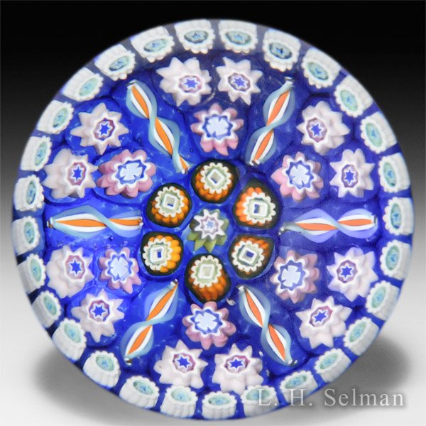 Caithness Glass 2014-2015 'Concentric' large millefiori on blue ground glass paperweight, by Peter McDougall, from the 'Millefiori Collection'. by Caithness  Glass Inc