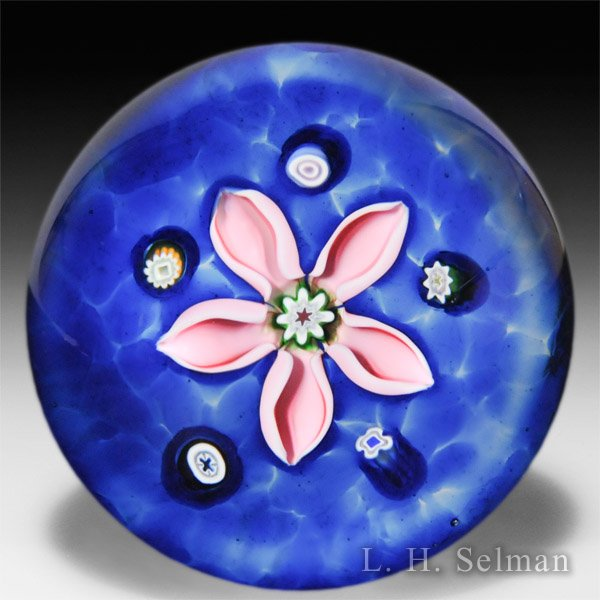 Caithness Glass 2014 millefiori 'Sapphire Gem Stones' on blue color ground glass paperweight. by Caithness  Glass Inc