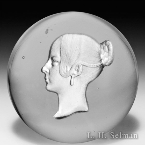 Antique Baccarat sulphide of Queen Victoria miniature glass paperweight. by  Baccarat Antique