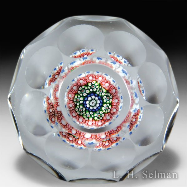 Antique Baccarat pink, blue and white close concentric mushroom faceted glass paperweight. by  Baccarat Antique