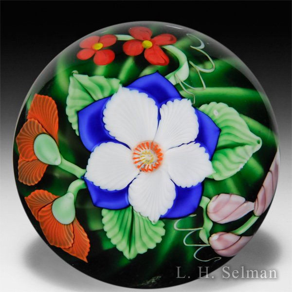 Orient & Flume blue and white flower glass paperweight, by Greg Held.  by  Orient & Flume