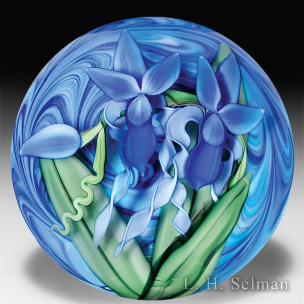 Steven Lundberg Glass Art 2002 two iris compound magnum glass paperweight, by Justin Lundberg. by Steve & Ola Lundberg