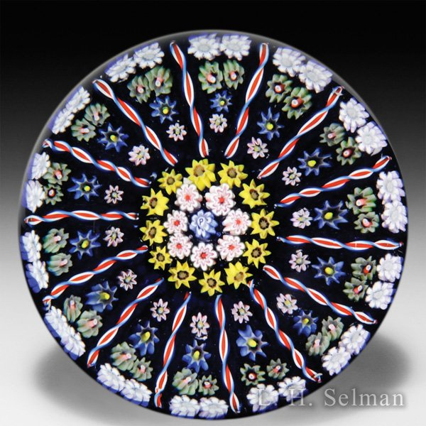 Perthshire Paperweights post-1978 large patterned millefiori glass paperweight. by  Perthshire Paperweights
