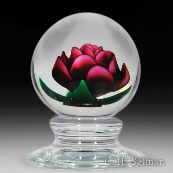 Charles Kaziun Junior red crimp rose pedestal glass paperweight. by Charles Kaziun Junior