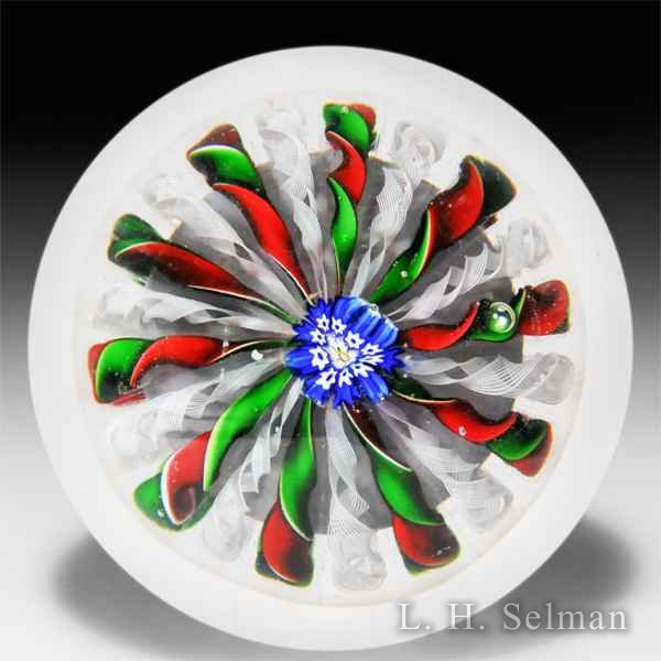 Antique Saint Louis red and green crown glass paperweight. by  Saint Louis antique
