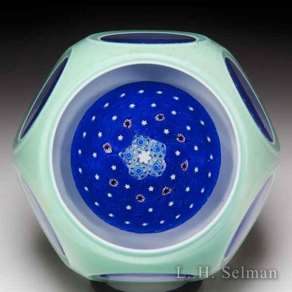 Damon MacNaught 2014 double overlay blue moss ground cushion faceted glass paperweight. by Damon MacNaught