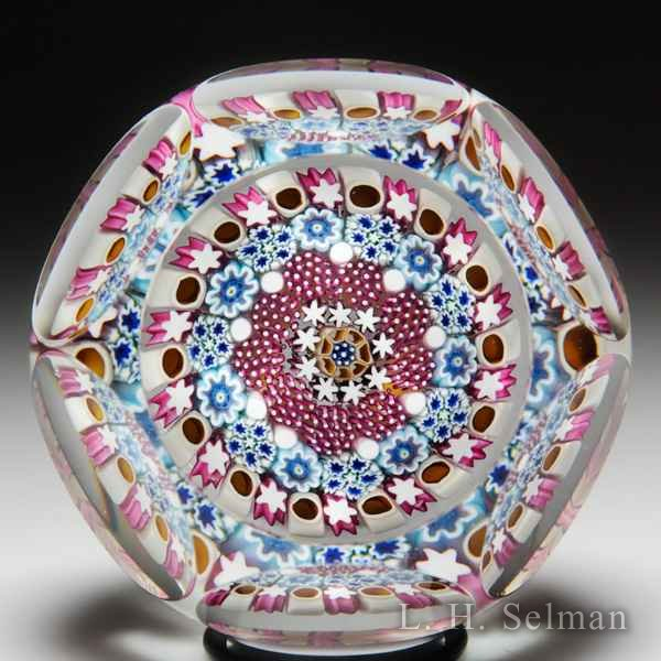 Damon MacNaught 2015 concentric millefiori in a stave basket faceted glass paperweight. by Damon MacNaught