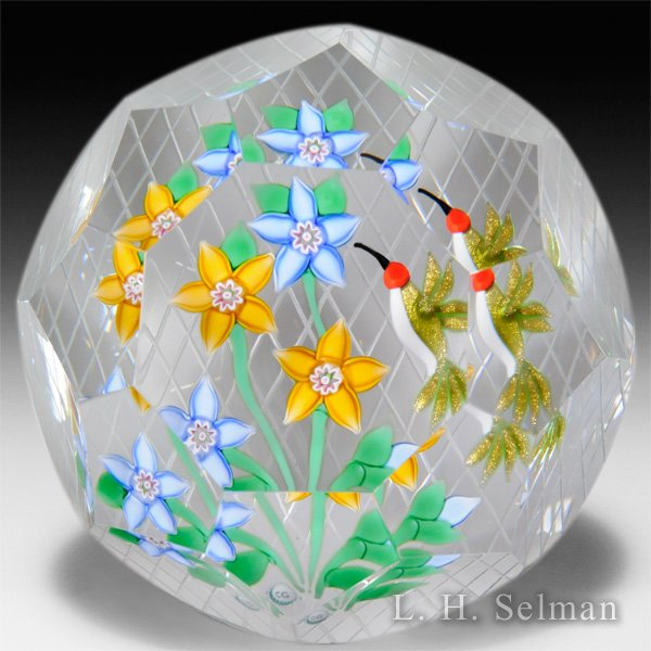 Caithness Glass 2015 'Hummingbird' clematis bouquet with bird faceted glass paperweight, by Peter McDougall, from the Lampwork Collection. by Caithness  Glass Inc