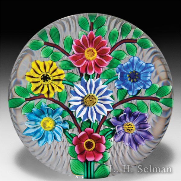 Bob Banford seven flower bouquet glass paperweight. by Bob Banford